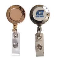 Gold or Chrome Finish Badge Reels