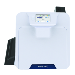 Offering reverse transfer printing with built-in visual security, the Magicard Ultima ID card printer is a powerful addition to the Magicard line of printers. With its quick print speeds, large 200-card hopper, high yield 1,000 print ribbons and an easy-to-use touch screen interface, this printer is ideal for large organisations looking for efficient card printing.